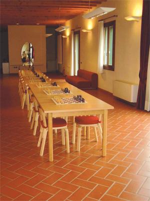 La splendida Sala Arnaldi di Dueville dove si gioca a scacchi tutti i sabati pomeriggio.